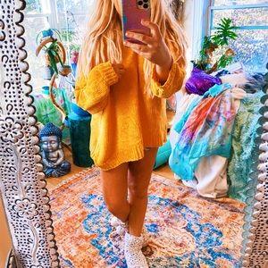 Vibrant Honey Yellow Cozy Chenille Oversized Swtr